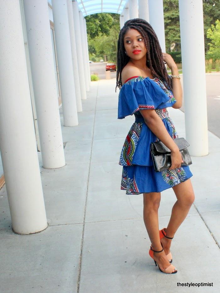 Off Shoulder African Print Dress Style Optimist